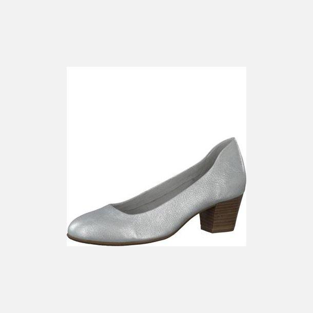 Sølv metallic sko i lækkert blødt skind - Tamaris