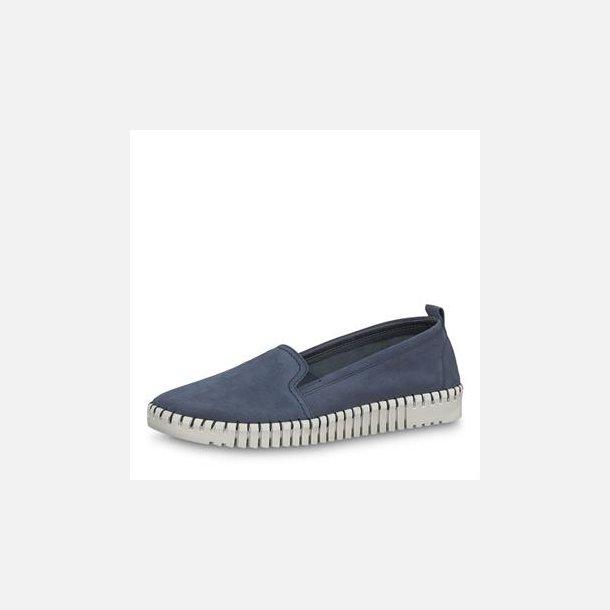 Blå læder loafer - Tamaris